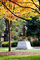 Abraham Baldwin Statue in the Fall